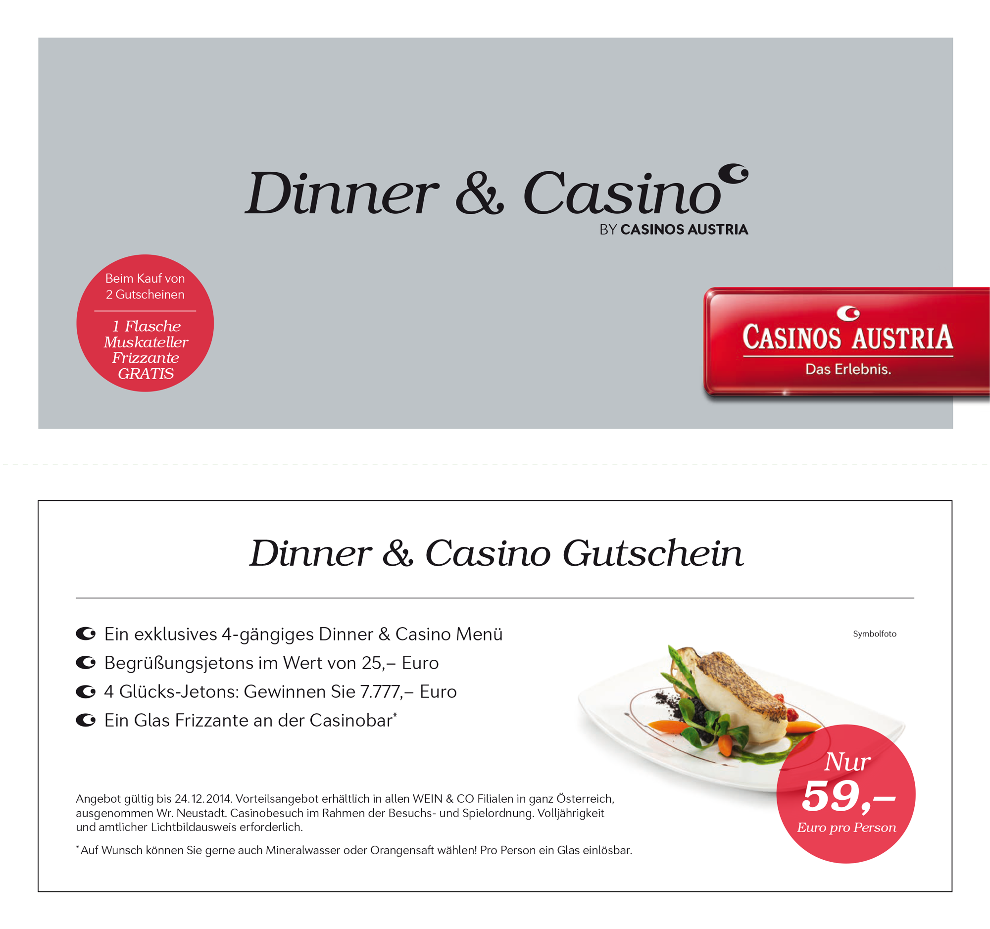 dinner & casino gutschein
